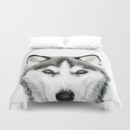 Siberian Husky dog with two eye color Dog illustration original painting print Duvet Cover