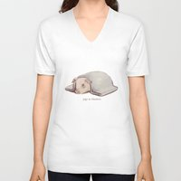 blankets V-neck T-shirts featuring Pigs In Blankets by coalotte