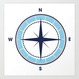 Blue compass Art Print