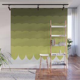 Ombre olive waves Wall Mural