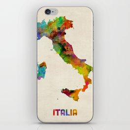 Italy Watercolor Map, Italia iPhone Skin