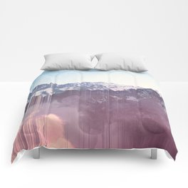 Glitched Mountains Comforters