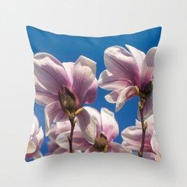 Magnolia tree blossoms Throw Pillow