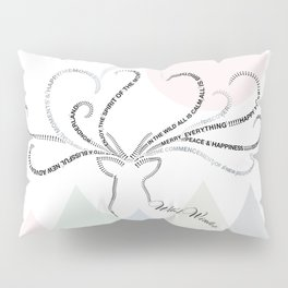 Abstrac Typographic Reindeer in The Mountains Pillow Sham