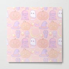 Halloween Pixel Pattern Metal Print