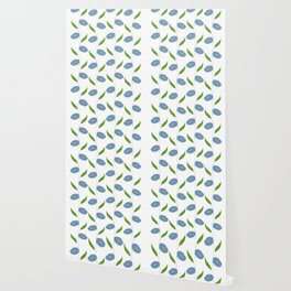 Floral stripes - blue and green Wallpaper