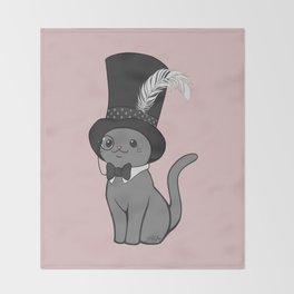 Grey Cat Wears Plumed Top Hat Throw Blanket