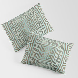 Greek Key Ornament - Greek Meander - Gold and Mint Pillow Sham