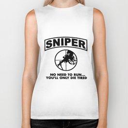 Sniper No Need To Run USMC Army Marine Corps Adult veteran Biker Tank