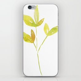 Yellow Watercolor Leaves iPhone Skin
