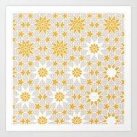 pivot Art Prints featuring Pivot Star Pattern  by Pivot Interiors