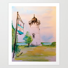 East Chop (Telegraph Hill) Lighthouse Martha's Vineyard Watercolor Art Print