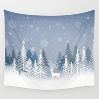 lonely Wall Tapestries featuring Lonely Winter by MaNia Creations