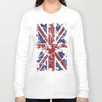 uk Long Sleeve T-shirts featuring Grunge UK by Sitchko Igor