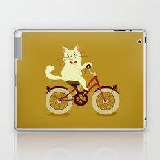 White cat on a bicycle Laptop & iPad Skin