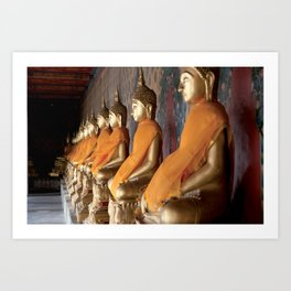 Gold buddhas in temple, Bangkok, Thailand Art Print