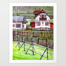 Transylvania Romania in Watercolor Picturesque Landscape Scenery Art Print
