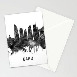 Baku Azerbaijan Skyline BW Stationery Cards