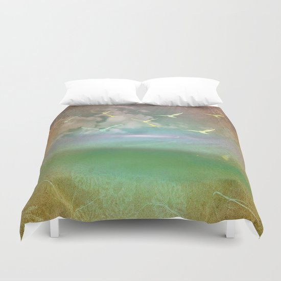 Day At The Beach Abstract Duvet Cover