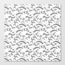 White grey floral pattern Canvas Print