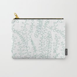 Round Eucalyptus Leaf Toss in White + Sage Carry-All Pouch
