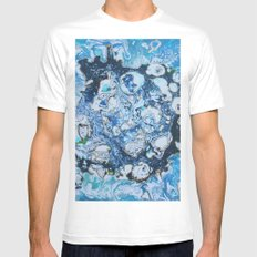 Marbled Blue Universe MEDIUM Mens Fitted Tee White