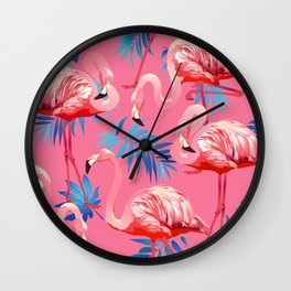 Flamingo Bird Tropical Palm Pattern Wall Clock