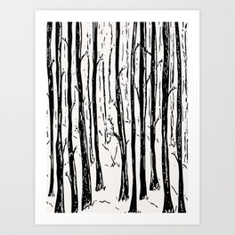 winter forest black and white Art Print
