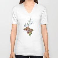 elk V-neck T-shirts featuring Elk  by kristinasheufelt
