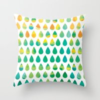 rain Throw Pillows featuring Monsoon Rain by Picomodi