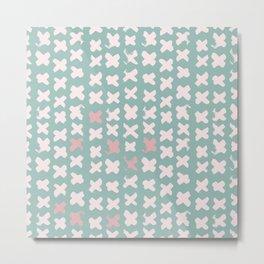 Contemporary X Paint Cross stich Mint Pink Pattern Metal Print