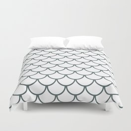 Steel Grey Fish Scales Pattern Duvet Cover