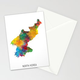 North Korea Watercolor Map Stationery Cards