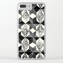 Shibori Diamond Stars Black Earth and Ivory Clear iPhone Case