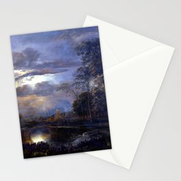 Aert van der Neer Moonlit Landscape with Bridge Stationery Cards