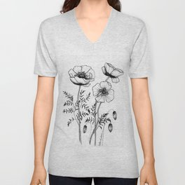 Poppy Line Art Unisex V-Neck