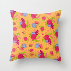 Picnic Pals bouquet in strawberry Throw Pillow
