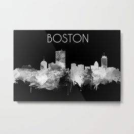 Boston watercolor skyline black and white Metal Print