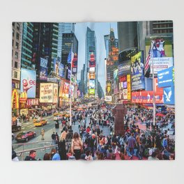 Times Square Tourists Throw Blanket