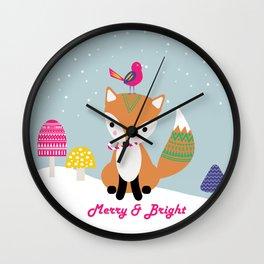 Vintage Christmas Fox Wall Clock