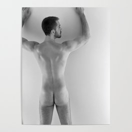 Hands Up Rear Nude Poster