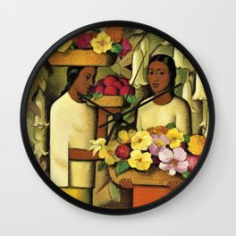 Mujeres con flores (Woman selling Zinnias, Lilies, Angels Trumpet & Begonias) by Alfredo Martinez Wall Clock