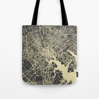 baltimore Tote Bags featuring Baltimore map by Map Map Maps