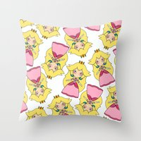 princess peach Throw Pillows featuring peach by guizmo04