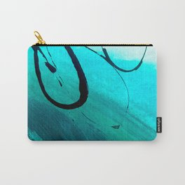 Moving On: an abstract mixed media piece in blue, greens, black and white by Alyssa Hamilton Art Carry-All Pouch