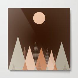 Minimalist Scandinavian Abstract Concept Forest Dawn Brown Blush Neutral Metal Print