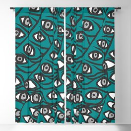 Freddie Eyeballs Teal Aqua Blue Blackout Curtain