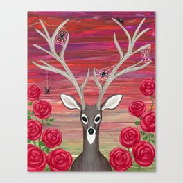white tailed deer, spiders, roses Canvas Print