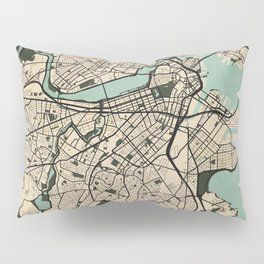 Boston City Map of the United States - Vintage Pillow Sham