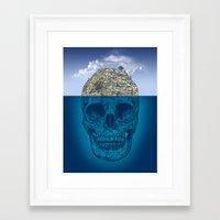 island Framed Art Prints featuring Skull Island by Rachel Caldwell